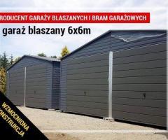 Garaż w kolorze grafitowym blaszak 6x6 konstrukcja z profili